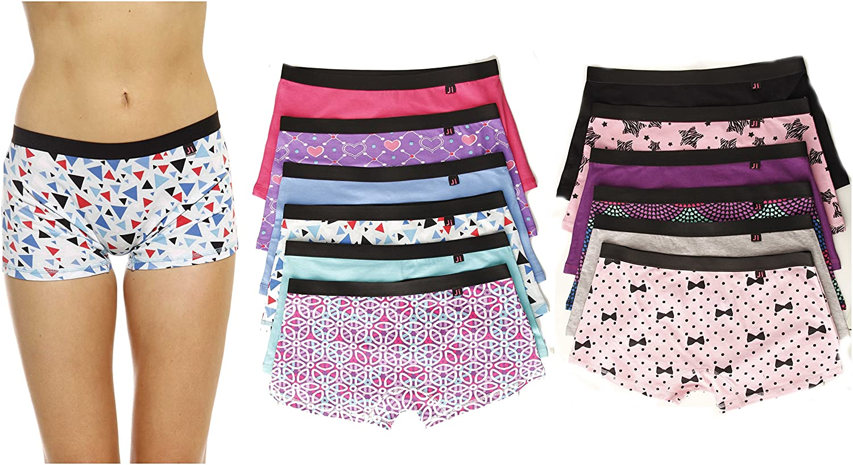 3pr Free Size Multi-color Low Rise Plaid Seamless Boyshort Shorts Panties Lot