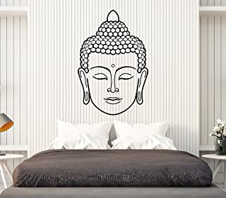 Vinyl Wall Decal Buddha Face Head Buddhism India God Religion Stickers Large Decor (1434ig) Lime Green