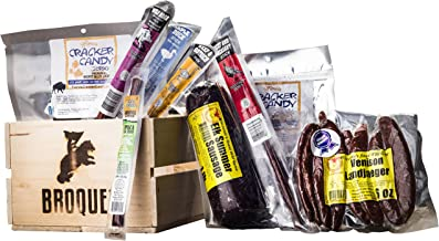 Broqet Exotic Meat Food Crates (Exotic Jerky Gift) Jerky & Meat Sticks Sampler - Comes in a Wooden Crate - Gifts for Men who have everything - Stocking Stuffers- Gift Baskets