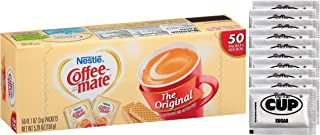 Coffee Mate - Original 3 Gram Single Serve Powdered Creamer Packets 50 Count Box (Pack of 1) - with Exclusive By The Cup Sugar Packets
