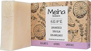 Meina Naturkosmetik - Seife mit Bergamotte, Lavendel und Sandelholz 1 x 100 g Palmölfrei, Natürlich, Vegan, Handgemacht, Bio Naturseife - Körperpflege und Gesichtspflege