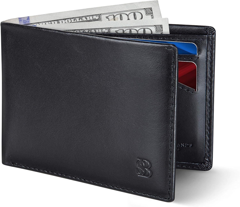 SERMAN BRANDS Mens Slim Bifold Wallet RFID Blocking Minimalist Front Pocket Wallets for Men - Thin & Stylish