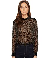 The Kooples - Long Sleeve Top with Flower Print and Devore Velvet