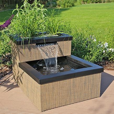 CLGarden Miniteich MTWS1 Mit Wasserfall LED Beleuchtung Pumpe Set Mini Teich Fur Garten Balkon Terrasse