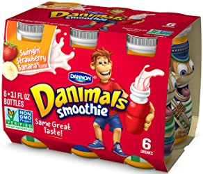Dannon Danimals Smoothie Lowfat Dairy Drink, Swingin' Strawberry Banana, 3.1 Ounce Drinks (Pack of 6