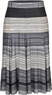 Women's Plus Size A Line Flared Knee Long Skirt with Stretch Waistband