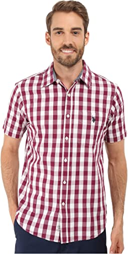 Poplin w/ Dobby Stitch Plaid Sport Shirt