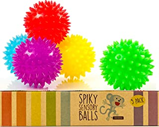 Impresa Products Spiky Sensory Balls (Pack of 5) - Squeezy and Bouncy Fidget Toys / Sensory Toys - BPA/Phthalate/Latex-Free