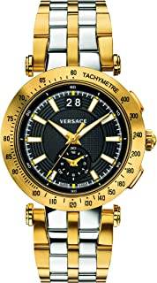 Versace Men's 'V-Race' Swiss Quartz Stainless Steel Casual Watch, Color:Two Tone (Model: VAH020016)
