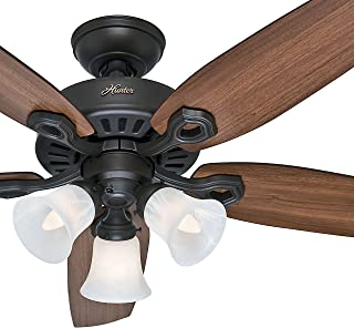 Hunter Fan 52 inch New Bronze Ceiling Fan - Three-Light Fitter with Swirled Marble Glass (Renewed) (New Bronze)