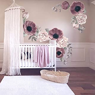 Floral Wall Sticker Decal Purple Navy Girl Nursery Decor