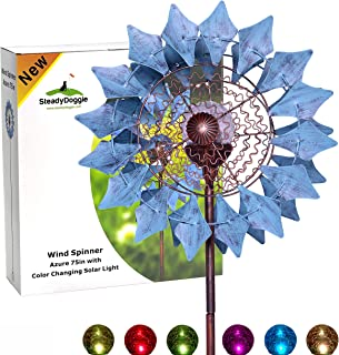 SteadyDoggie Sports & Outdoors Solar Wind Spinner New Azure 75in Multi-Color Seasonal LED Lighting Solar Powered Glass Ball with Kinetic Wind Spinner Dual Direction for Patio Lawn & Garden