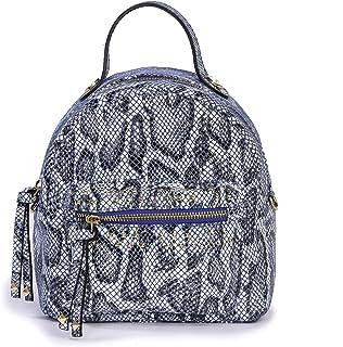 Kilesa Made in Italy Borsa Donna Linea Julia Backpack Python Mini Zaino in Pelle di Vitello Stampa Pitone Cobalto con Trac...