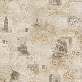York Wallcoverings Europa II Photo Collage Prepasted Wallpaper, Beige/Tan/Taupe
