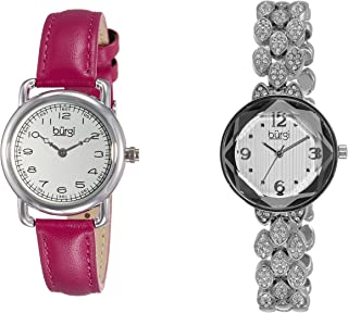 Burgi Women's BUR133SS Classic Fuchsia  Leather Strap & Swarovski Crystal Accented Faceted Silver Bracelet 2 Watch Boxset