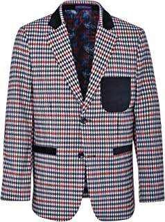 JAMES MORGAN Boys Plaid Blazer with Velvet Patch with Lining