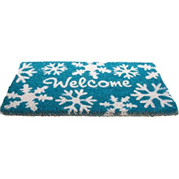 Imports Decor Printed Coir Doormat, Welcome Snowflakes, 18-Inch by 30-Inch