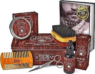 Beard Care Kit for Men- Sandalwood- Ultimate Beard Grooming Kit includes 100% Boar Beard..