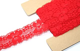 JLIKA Stretch Lace Elastic - 12 Yards - 1 Inch Wide - Trim Lace for Headbands Weddings (Red)