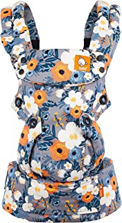 Baby Tula Explore Baby Carrier 7 – 45 lb, Adjustable Newborn to Toddler Carrier, Multiple Ergonomic Positions, Front and Back Carry, Easy-to-Use, Lightweight – French Marigold, Blue-Gray Floral