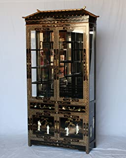 Chinese Arts, Inc Black Lacquer Wooden Pagoda Curio Cabinet J3168-BK