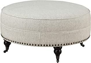 Carthage Round Ottoman in Gray Ivory Stripe with Turned Feet, Nailhead Trim, And Seam Welting, by Artum Hill
