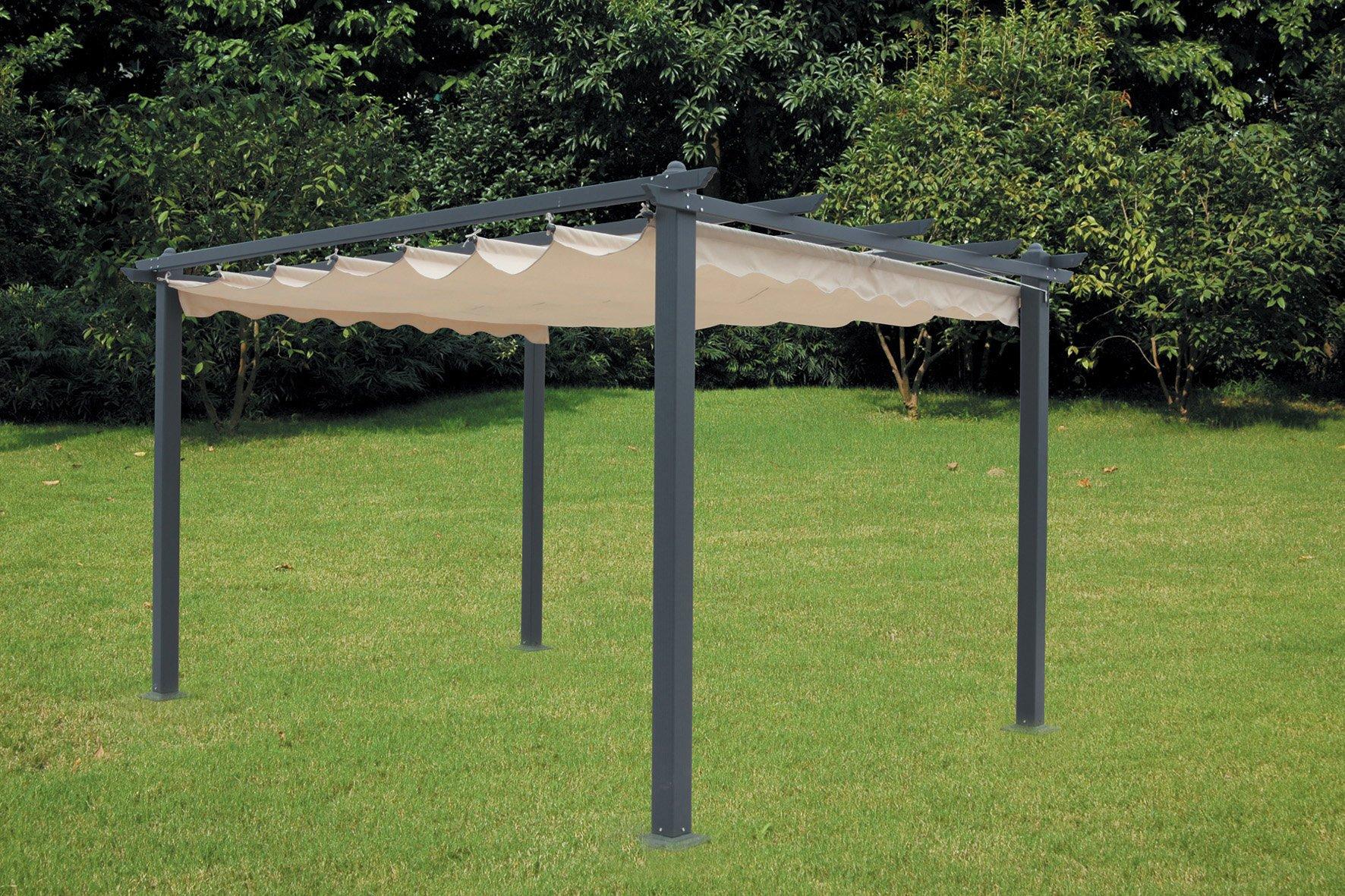 Pérgola de aluminio con toldo retráctil de300 x 400 cm.: Amazon.es ...