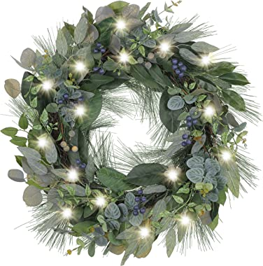 Valery Madelyn Pre-Lit 24 Inch Natural Fresh Christmas Door Wreath with Blueberries, Fall Wreath for Front Door Home Daily De