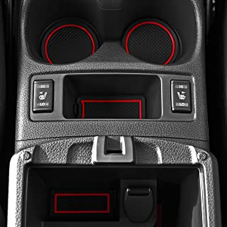 Custom Fit Cup Holder and Door Compartment Liner Accessories for Nissan Rogue 2014-2017 2016 2017.5 16-pc Set (Red Trim)