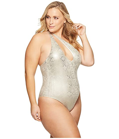 Sports Illustrated Plus Size Viper Asymmetric Slashed One Shoulder One-Piece Nude Cheap Collections Comfortable For Sale IRz29wu0