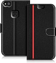 COODIO Custodia in Pelle Huawei P10 Lite, Custodia Huawei P10 Lite, Custodia Portafoglio Cover Porta Carte Chiusura Magnetica per Huawei P10 Lite, Nero/Rosso