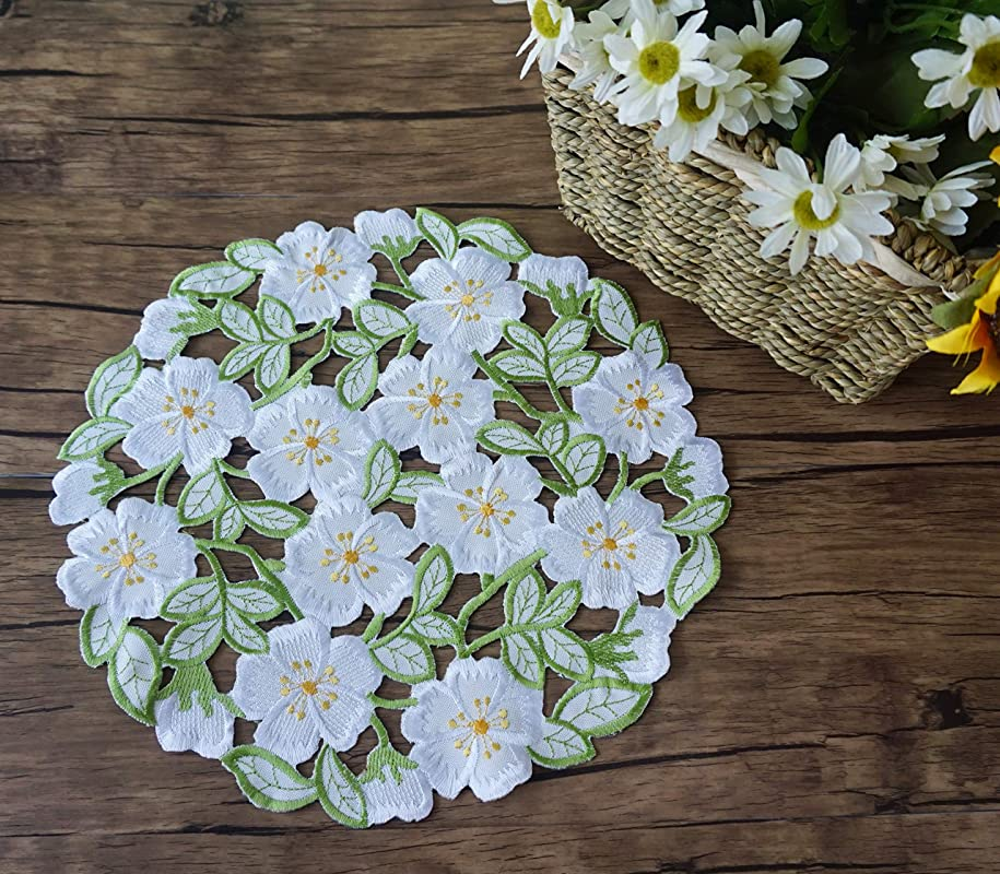 CloudSun Easter Spring Embroidered Flowery Doily Placemats Set Of 4 Round 12 Inch