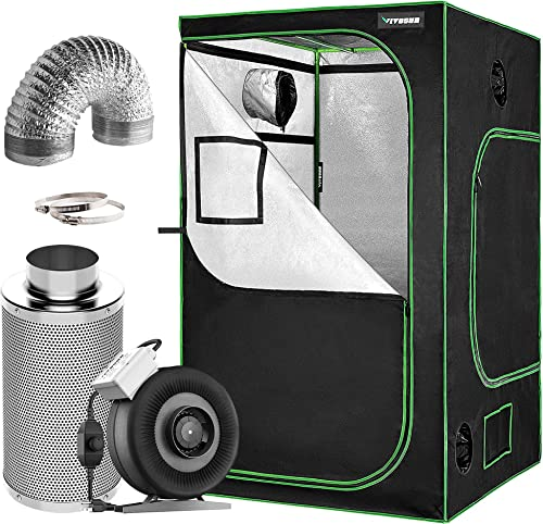 """popular VIVOSUN Air wholesale Filtration Kit: 8 Inch 740 CFM Inline Fan with Speed Controller, 8 Inch Carbon Filter online and 25 Feet of Ducting Combo, 48""""x48""""x80"""" Mylar Hydroponic Grow Tent outlet online sale"""