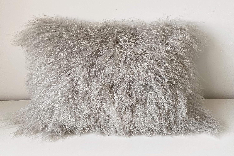 KumiQ 100% Real Mongolian New arrival Lamb Fur Curly Pillow Hom Cushion Luxury goods Wool