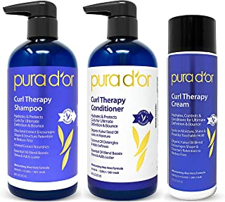 PURA D'OR Curl Therapy Shampoo, Conditioner, and Styling Cream 3-Piece Set - For Styling Natural and Treated Curls, Gentle Sulfate Free with Natural Ingredients, Men & Women (Packaging may vary)