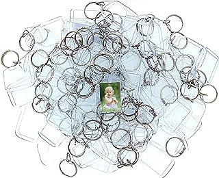 Portachiavi Foto in Acrilico (100 Pz) - 3,4 x 5,4cm Trasparente Portachiavi Vuota - Portachiavi con Inserti Immagini Perso...