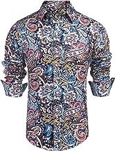 Daupanzees Men's Paisley Cotton Long Sleeve Casual Button Down Shirt