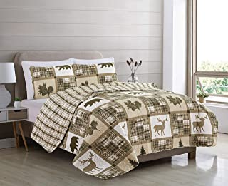 Great Bay Home Lodge Bedspread King Size Quilt with 2 Shams. Cabin 3-Piece Reversible All Season Quilt Set. Rustic Quilt C...