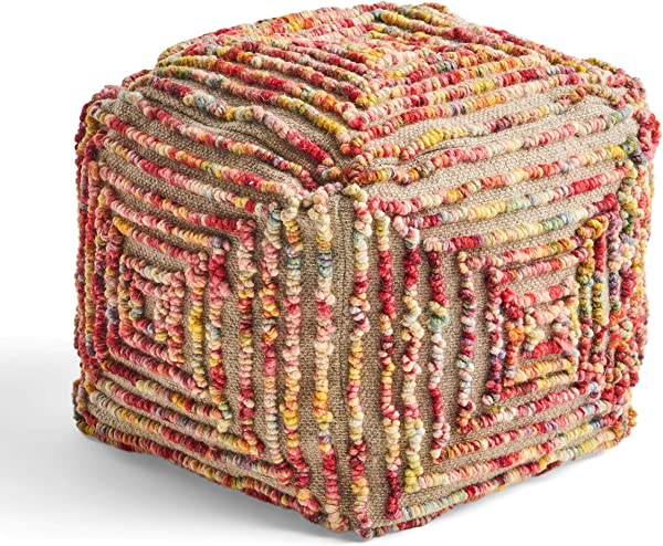 Great Deal Furniture Cindy Boho Wool Ottoman Pouf Multicolored