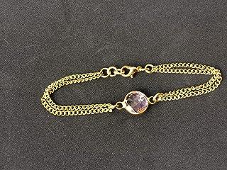 Pulsera mujer con cadena dorada y entrepieza de cristal tallado de color rosa