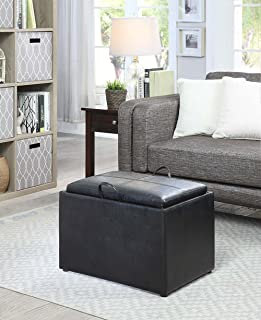 Convenience Concepts Designs4Comfort Storage Ottoman, Black