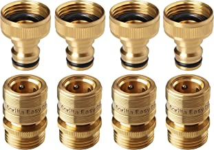 GORILLA EASY CONNECT Garden Hose Quick Connect Fittings. ¾ Inch GHT Solid Brass. 4 Sets of Male & Female Connectors.