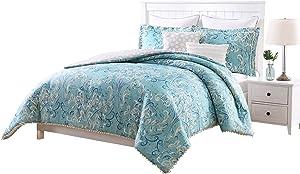 Carmela Home Finley Pompom 7-Piece Reversible Comforter Set, King, Aqua/White/Taupe