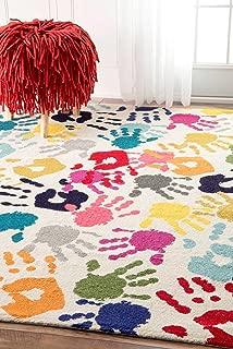 nuLOOM Pinkie Handprint Nursery Kids Rug, 8' x 10', Multi