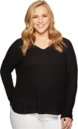 KARI LYN Plus Size Sarah Long Sleeve Waffle-Knit Top