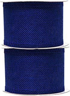 Mandala Crafts Burlap Ribbon, Jute Fabric Strip Spool for Rustic Ornament, Wreath Making, Holiday Decorating, Gift Wrapping (Royal Blue, 2.5 Inches)