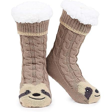 CityComfort Slipper Socks Women, Cute Sloth Warm Fleece Fluffy Anti Slip Socks