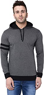 BI FASHION Men's Round Neck Contrast Hooded Full Sleeves T-Shirt