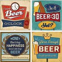 Thirstystone Stone Drink Coaster Set Beer Art, Multicolored