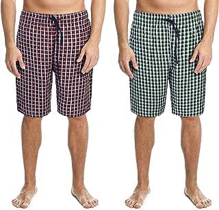 Men's 2 Pack 100% Cotton Woven Lounge Shorts Pyjama Bottoms
